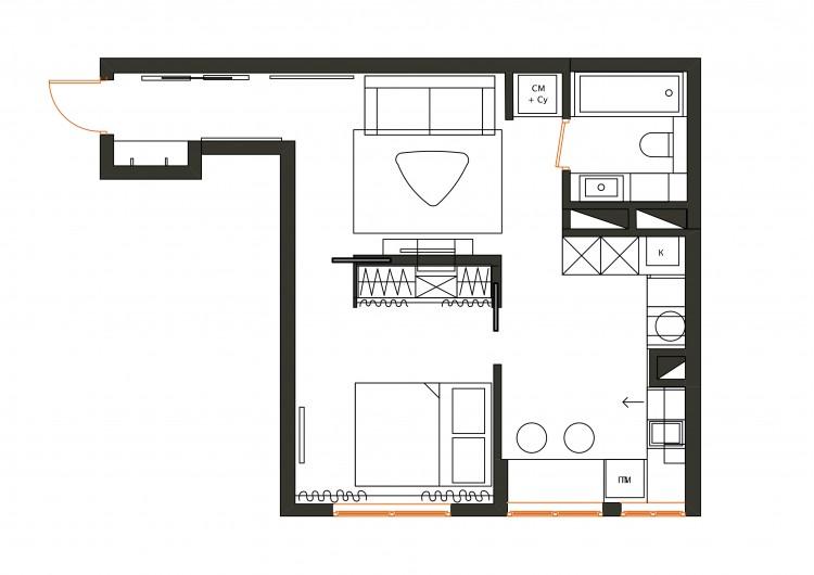 План перепланировки с расстановкой мебели  в дизайн-проекте  смарт- квартиры ЖК PARKLAND, 43 м.кв.— дизайнер Ирина Сазонова