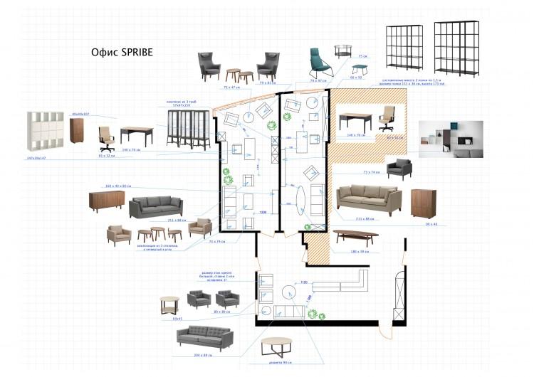 Комплектация офиса, план в дизайн-проект и комплектация офиса мебелью ИКЕА — дизайнер  Сазонова Ира