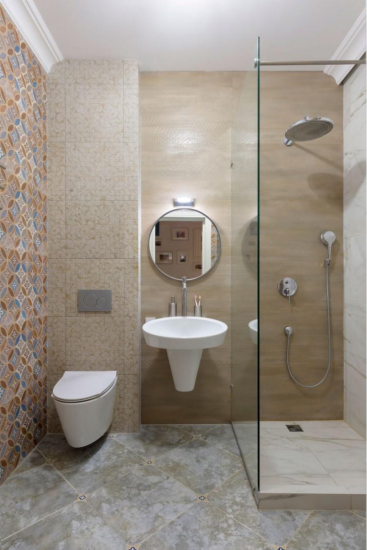 "Душевая комната — Дизайн-проект 2-комнатной квартиры ""Forever young"" White Cozy Home в ЖК River Stone, 85м.кв — дизайнер Сазонова Ира"