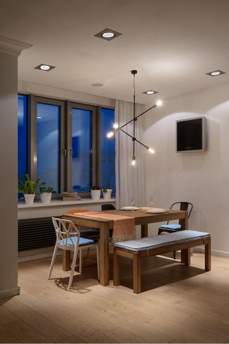 """Освещение обеденной зоны — Дизайн-проект 2-комнатной квартиры """"Forever young"""" White Cozy Home в ЖК River Stone, 85м.кв — дизайнер Сазонова Ира"""