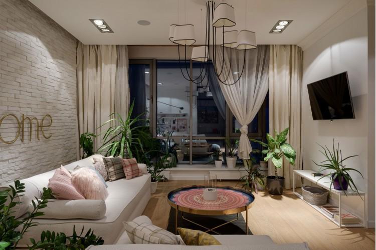 """Вечерняя гостиная — Дизайн-проект 2-комнатной квартиры """"Forever young"""" White Cozy Home в ЖК River Stone, 85м.кв — дизайнер Сазонова Ира"""