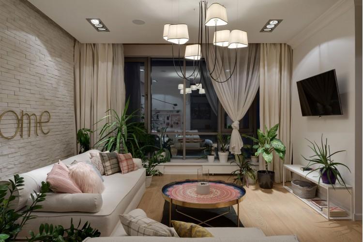 """Освещение в гостиной — Дизайн-проект 2-комнатной квартиры """"Forever young"""" White Cozy Home в ЖК River Stone, 85м.кв — дизайнер Сазонова Ира"""