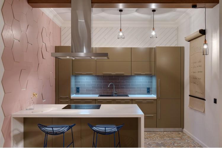 "Кухня — Дизайн-проект 2-комнатной квартиры ""Forever young"" White Cozy Home в ЖК River Stone, 85м.кв — дизайнер Сазонова Ира"