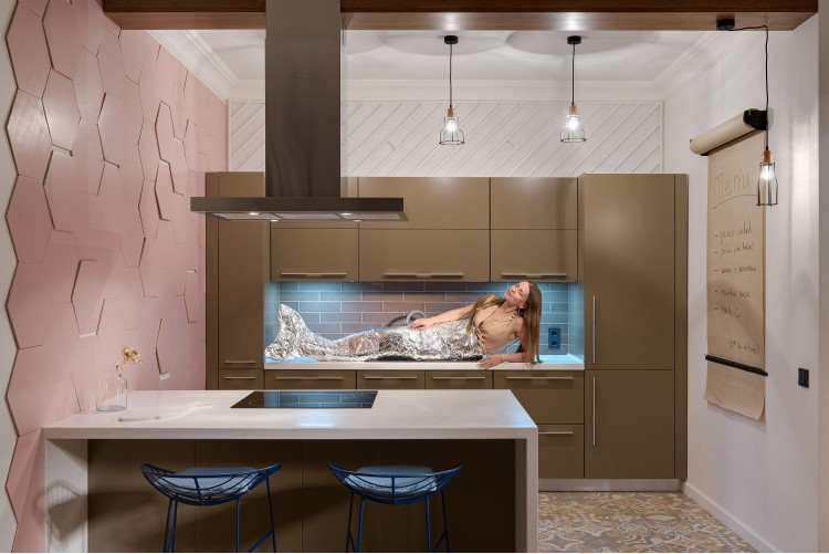 "Русалка на кухне — Дизайн-проект 2-комнатной квартиры ""Forever young"" White Cozy Home в ЖК River Stone, 85м.кв — дизайнер Сазонова Ира"