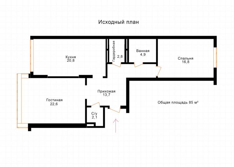 """План исходный — Дизайн-проект 2-комнатной квартиры """"Forever young"""" White Cozy Home в ЖК River Stone, 85м.кв — дизайнер Сазонова Ира"""