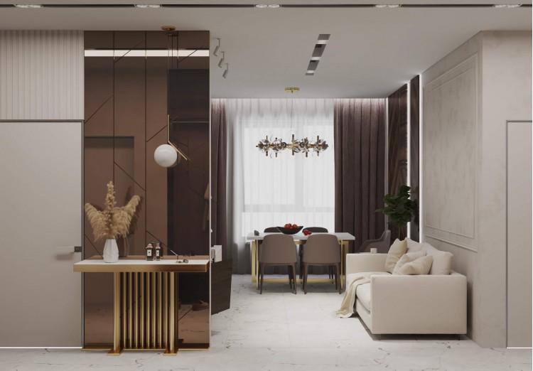 Кухня-гостиная в дизайн-проекте квартиры  ЖК Заречный 120 м. кв.— студия дизайна KEY Design