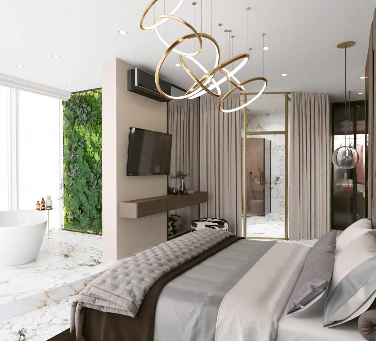 Хозяйская спальня в дизайн-проекте квартиры  ЖК Заречный 120 м. кв.— студия дизайна KEY Design