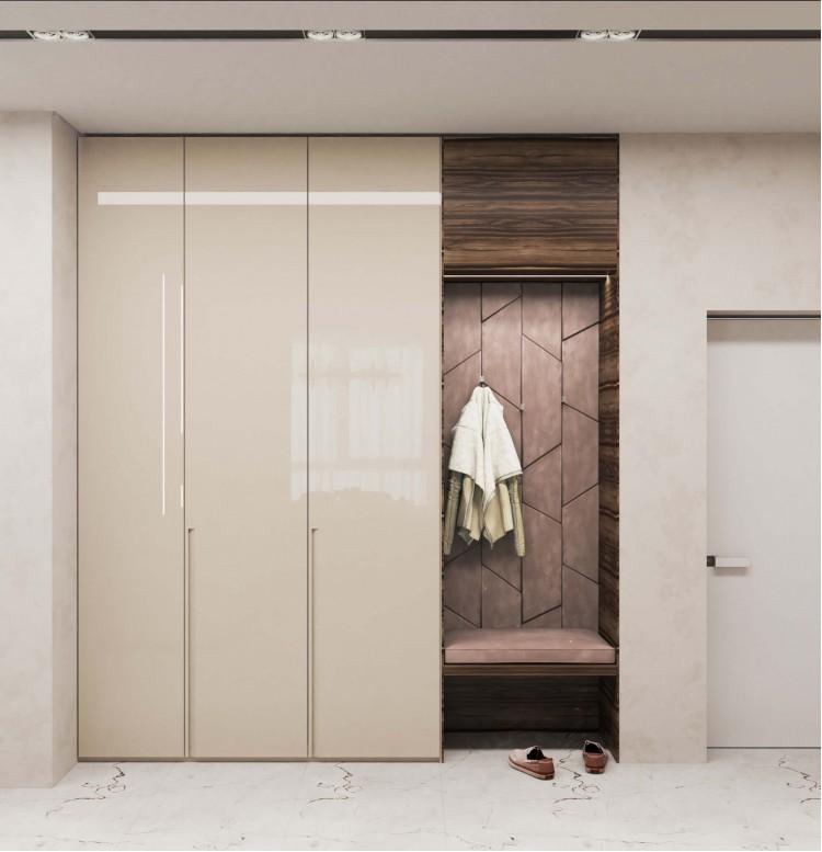 Прихожая в дизайн-проекте квартиры  ЖК Заречный 120 м. кв.— студия дизайна KEY Design