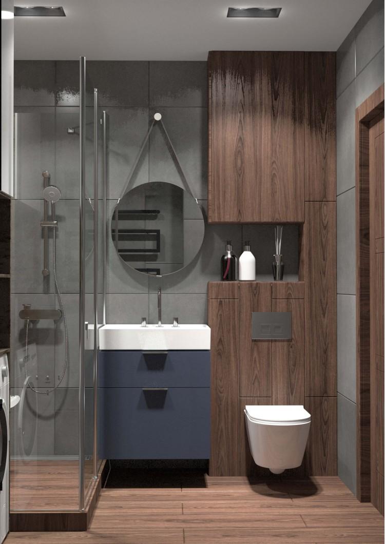 Санузел в дизайн-проекте квартиры  ЖК Славутич 39м.кв — студия дизайна KEY Design