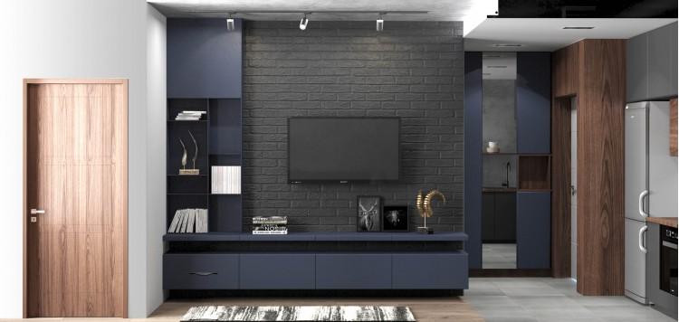 Кухня-гостиная в дизайн-проекте квартиры  ЖК Славутич 39м.кв — студия дизайна KEY Design