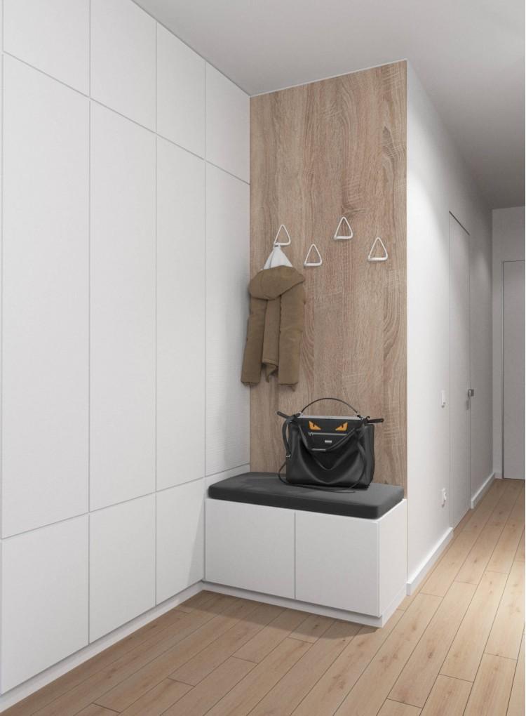 Прихожая в дизайн-проекте 2- комнатной квартиры  ЖК Заречный, 50м.кв. — студия дизайна KEY Design