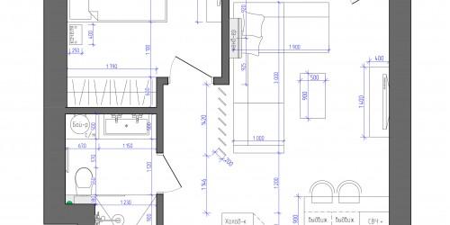 Дизайн-проект 2-комнатной квартиры в ЖК Заречный, 50м.кв.