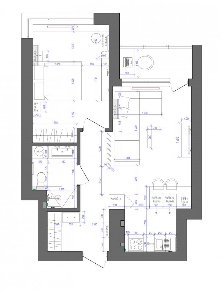 Планировка в дизайн-проекте 2-комнатной квартиры в ЖК Заречный, 50м.кв.— студия дизайна KEY Design
