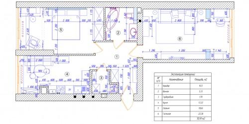 Дизайн-проект двухкомнатной квартиры в ЖК Львовский