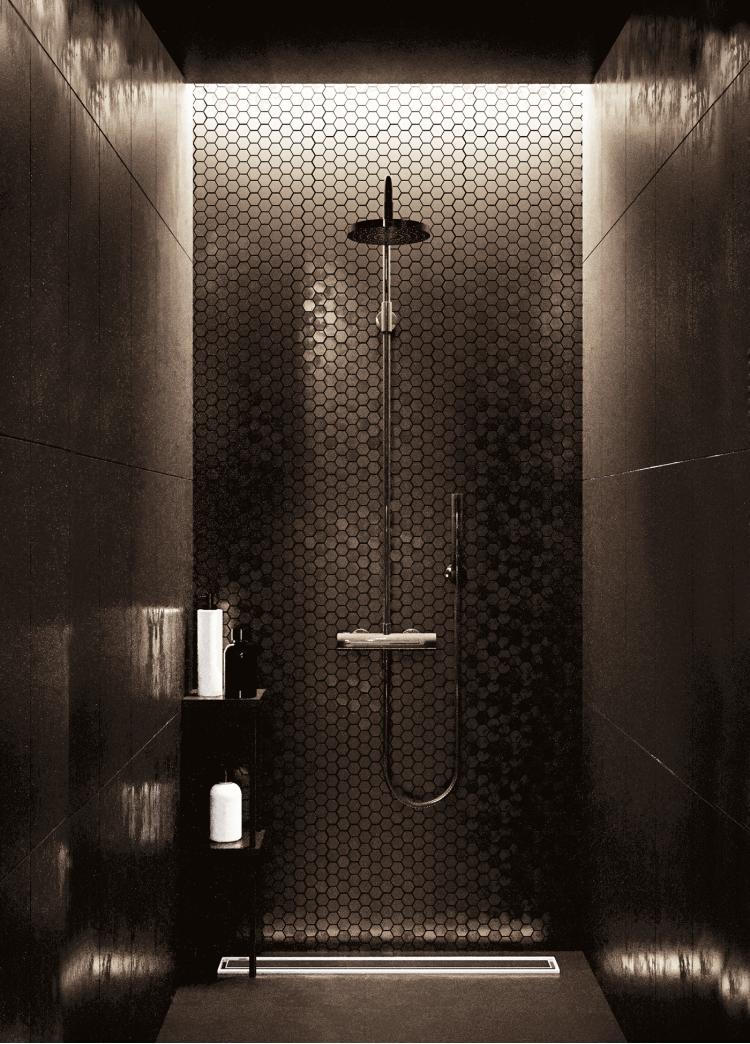 Душевая — Дизайн-проект квартиры в ЖК Династия, 54м.кв — дизайнер Дарья Гросс