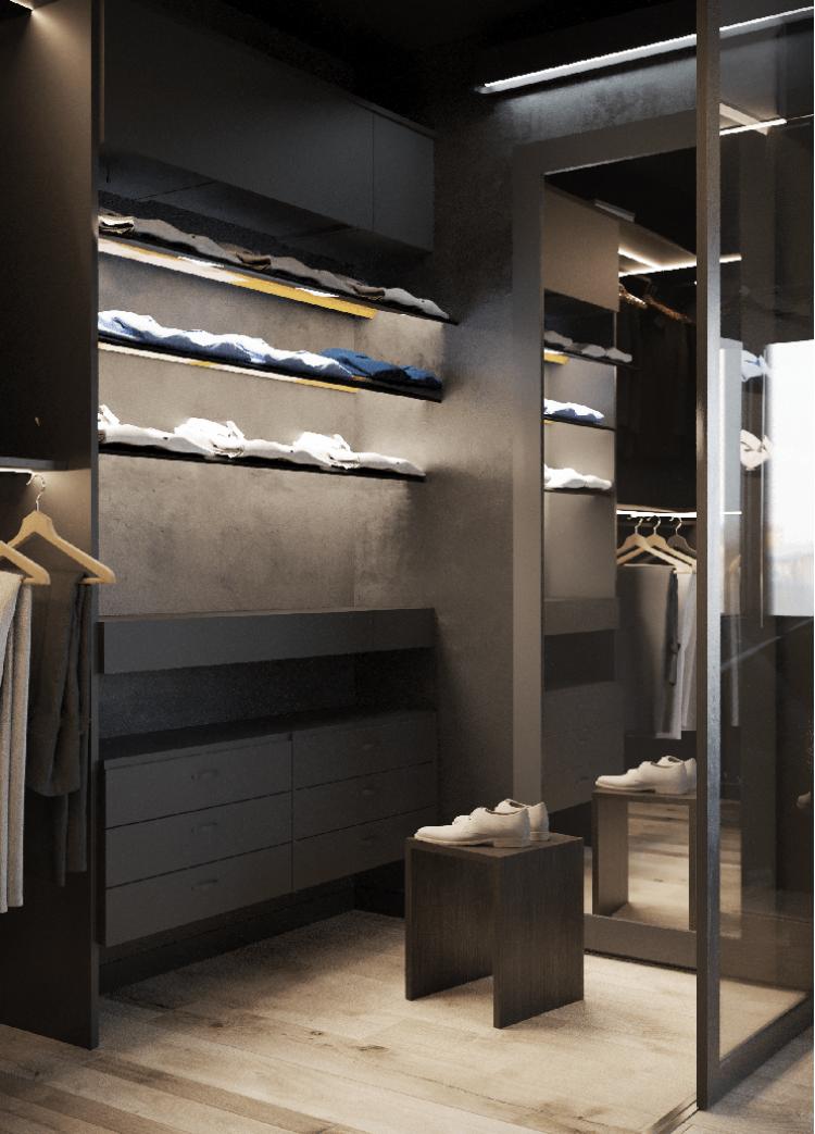 Гардероб — Дизайн-проект квартиры в ЖК Династия, 54м.кв — дизайнер Дарья Гросс