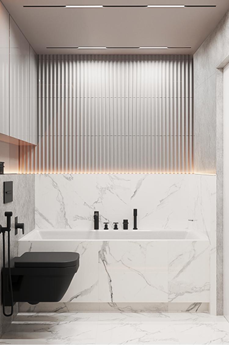 Ванная в дизайн-проекте  квартиры  ЖК Французский квартал, 82м.кв. — дизайнер Дарья Гросс