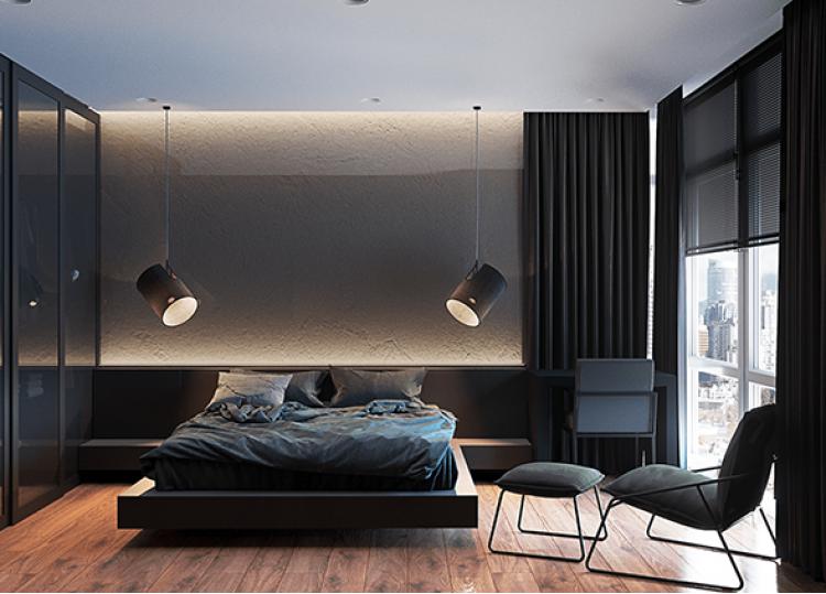 Спальня в дизайн-проекте в ЖК Французский квартал, 80 м.кв — дизайнер Дарья Гросс