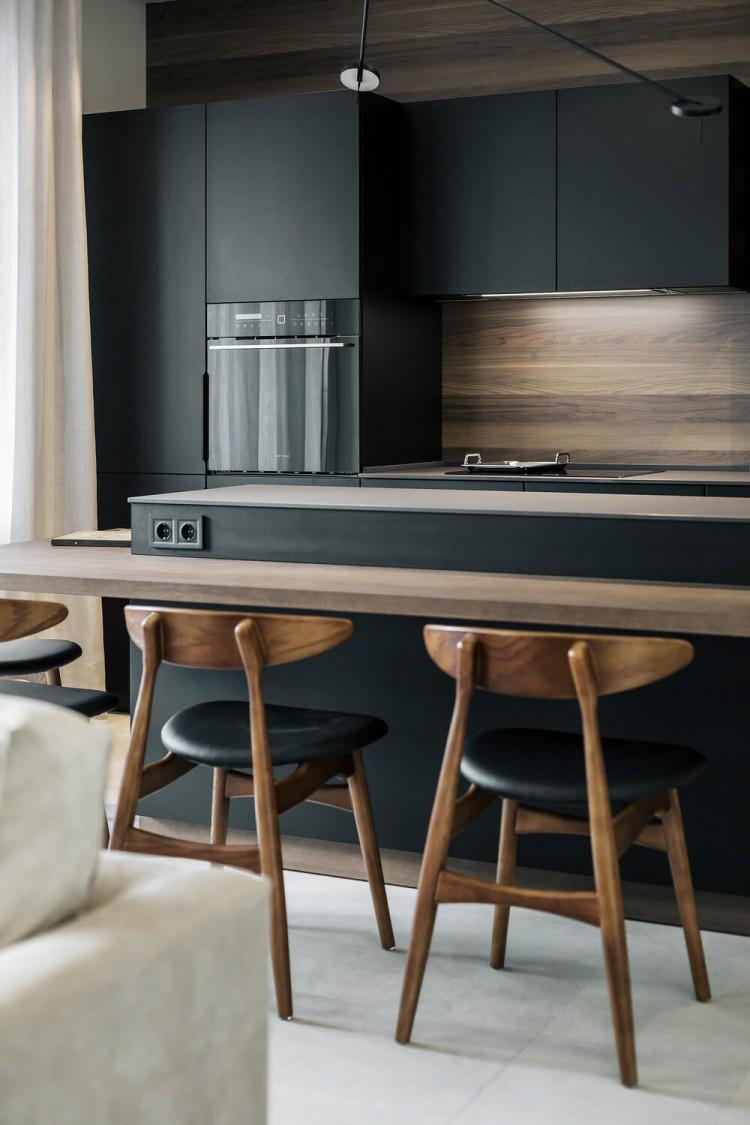 Кухня-гостиная в дизайн-проекте квартиры в КД GOGOL 47, 82 м.кв. — студия дизайна TABOORET