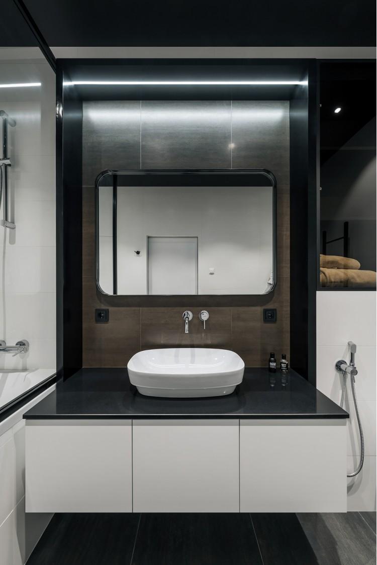 Ванная в дизайн-проекте квартиры в КД GOGOL 47, 82 м.кв. — студия дизайна TABOORET