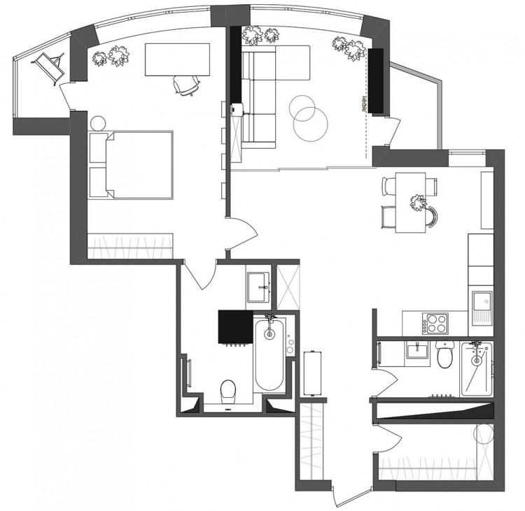 План - проекта — Дизайн-проект квартиры R65 apartment в ЖК Киевская Венеция, 65м.кв — студия дизайна TABOORET