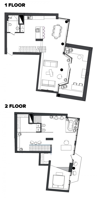 План 1-этажа — Дизайн-проект квартиры в ЖК Сонячна Брама 175м.кв — студия дизайна TABOORET