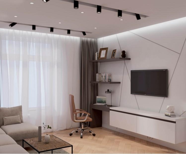Гостиная — Дизайн-проект 2-комнатной квартиры в ЖК Омега, 64 м.кв — дизайнер Елена Курник