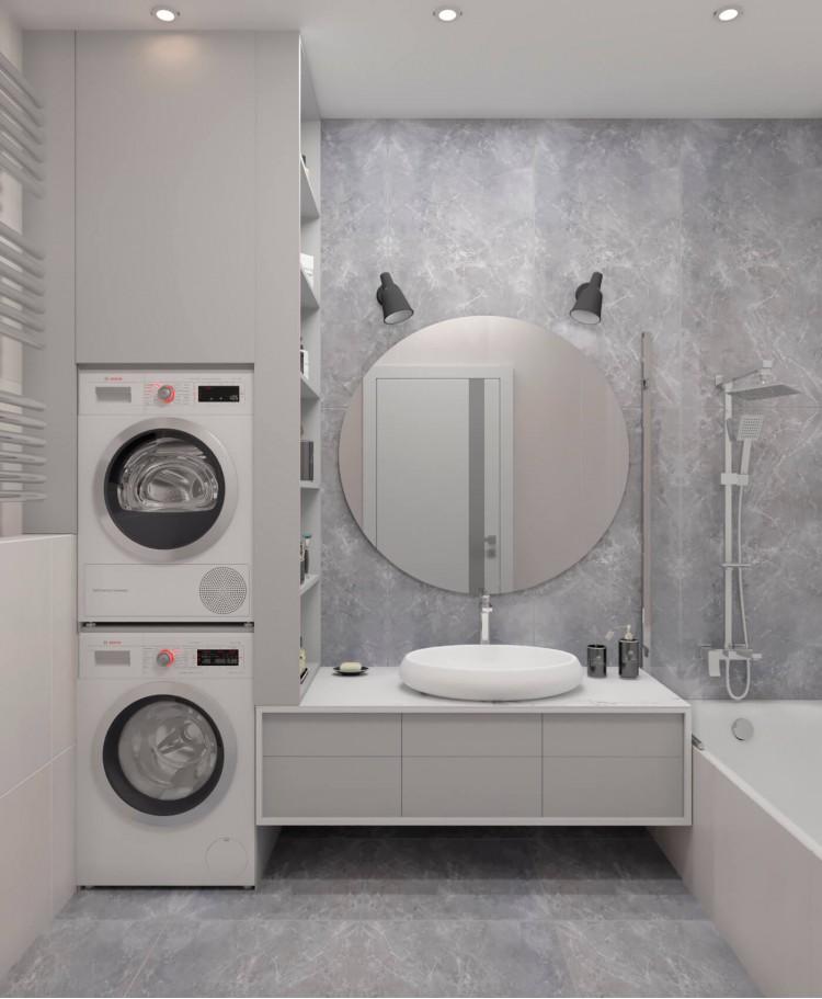 Ванная — Дизайн-проект 2-комнатной квартиры в ЖК Омега, 64 м.кв — дизайнер Елена Курник