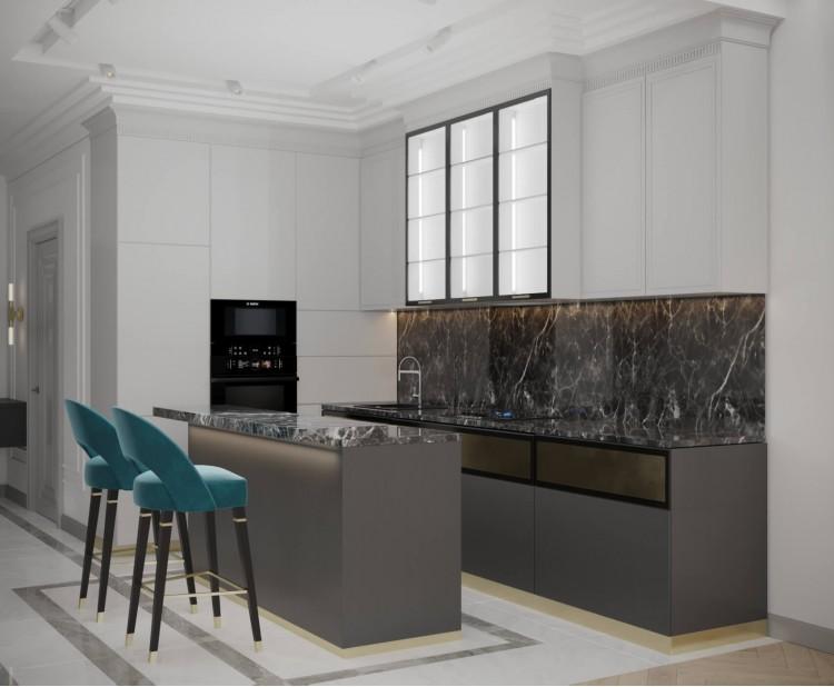 Кухня — Дизайн-проект квартиры-студии в ЖК Башня Chkalov, 60м.кв — дизайнер Елена Курник