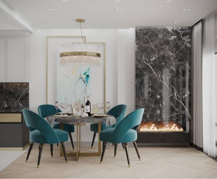 Обеденная зона — Дизайн-проект квартиры-студии в ЖК Башня Chkalov, 60м.кв — дизайнер Елена Курник