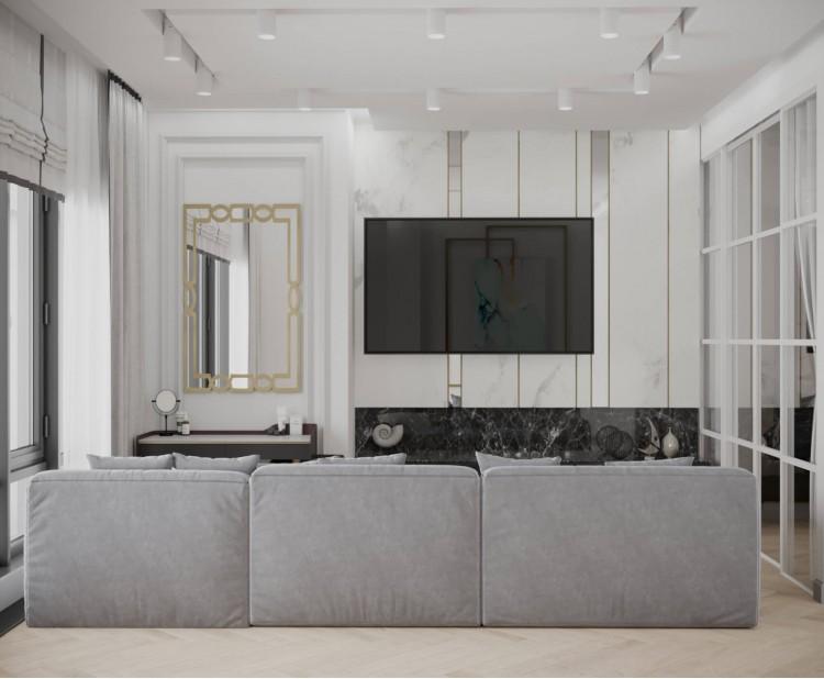 Гостиная — Дизайн-проект квартиры-студии в ЖК Башня Chkalov, 60м.кв — дизайнер Елена Курник
