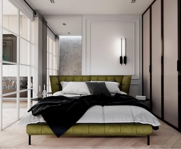 Спальня —Дизайн-проект квартиры-студии в ЖК Башня Chkalov, 60м.кв — дизайнер Елена Курник