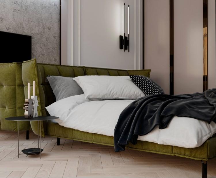 Спальня — Дизайн-проект квартиры-студии в ЖК Башня Chkalov, 60м.кв — дизайнер Елена Курник