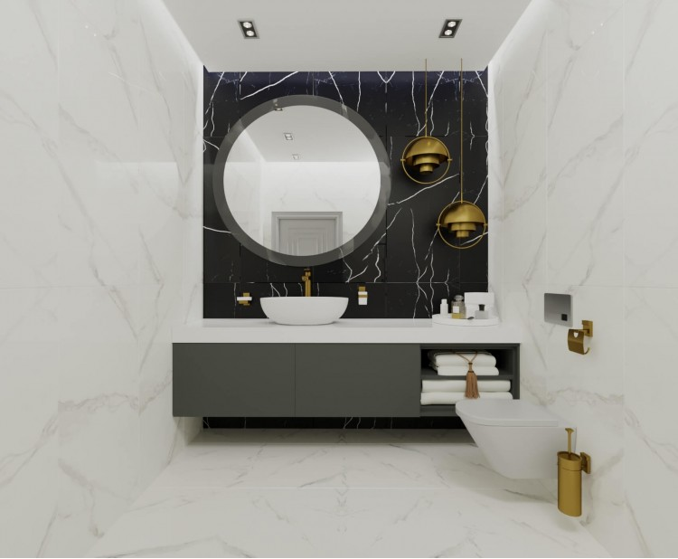 Санузел — Дизайн-проект квартиры-студии в ЖК Башня Chkalov, 60м.кв — дизайнер Елена Курник