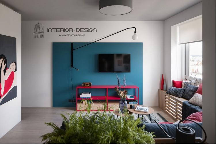 Фото: Дизайн гостиной в однокомнатной квартире – BRIGHT MOOD – интерьер однокомнатной квартиры 47 м2 – 2140