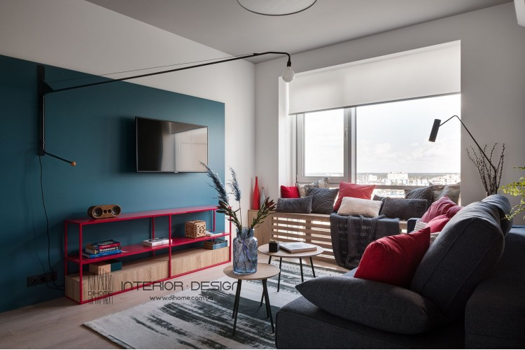 Фотография: Яркий дизайн гостиной – BRIGHT MOOD – интерьер однокомнатной квартиры 47 м2 – 2141