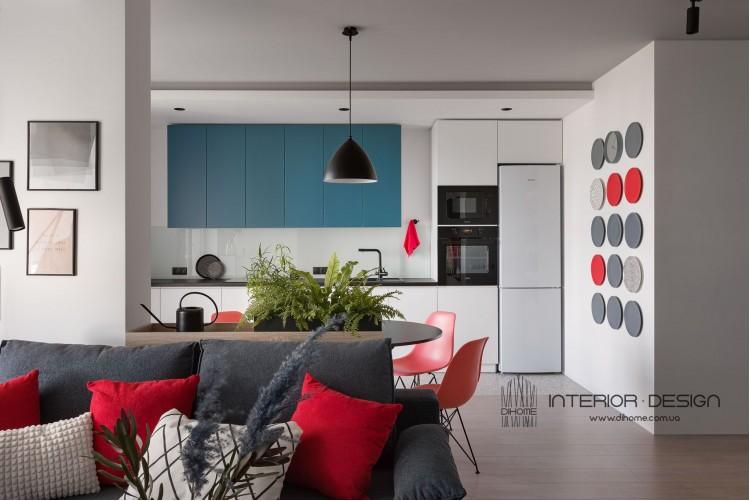 Фото: Кухня-гостиная – BRIGHT MOOD – интерьер однокомнатной квартиры 47 м2 – 2144