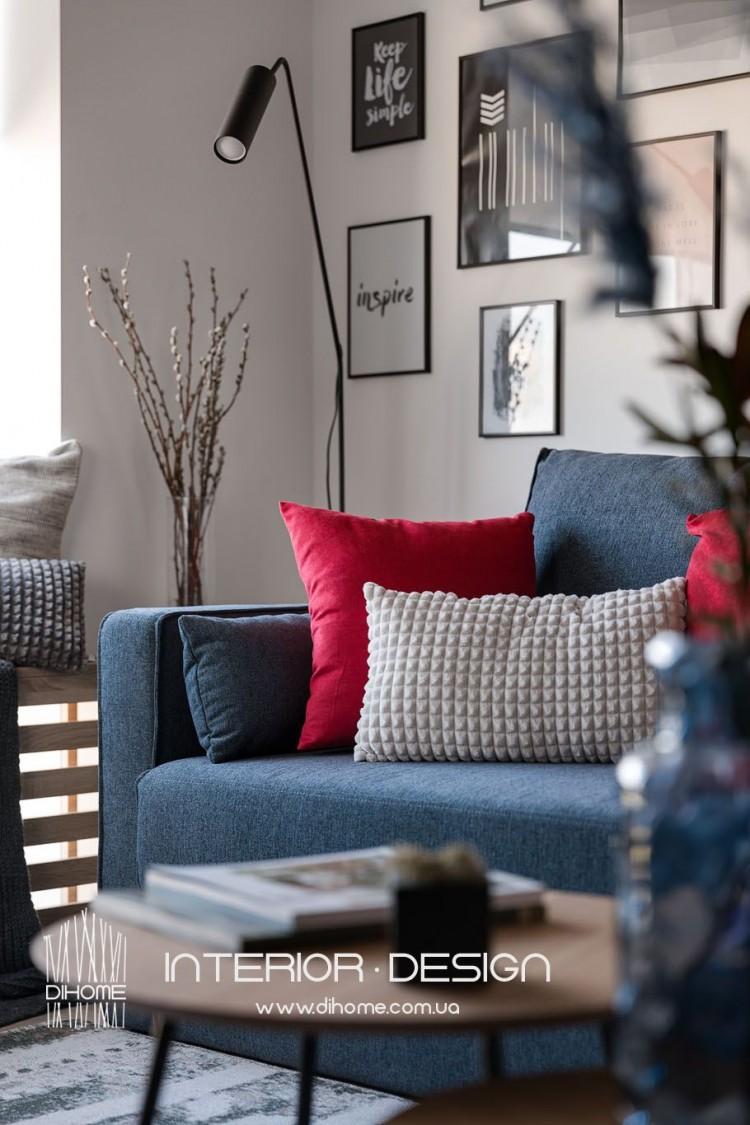 Фото: Мебель в дизайне гостиной – BRIGHT MOOD – интерьер однокомнатной квартиры 47 м2 – 2155
