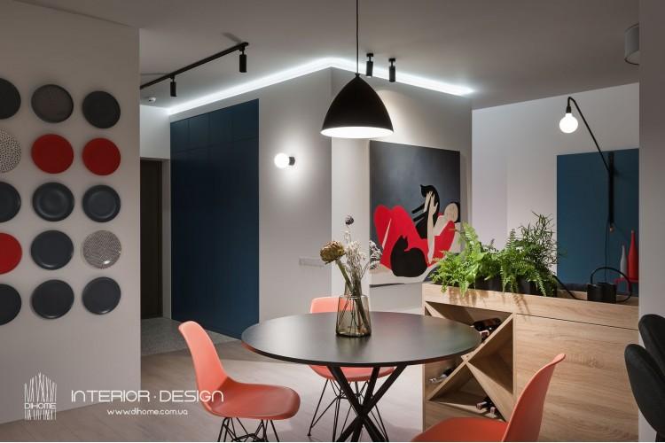 Фото: Обеденная зона  – BRIGHT MOOD – интерьер однокомнатной квартиры 47 м2 – 2163