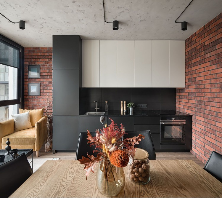 Фото интерьера: Дизайн кухни студии в стиле Лофт – URBAN LIGHT: квартира в стиле Лофт, 65 м2 – 2195