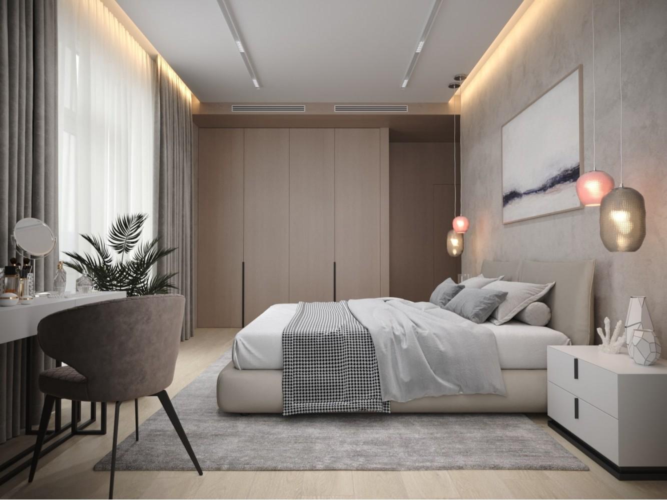 Спальня в дизайн-проекте 2-комнатной квартиры в КД Art Hall, 94м.кв. — Novoselskiy Design