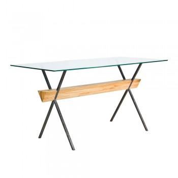 Стол Easy Frame – дизайнерский стол из металла, стекла и дерева