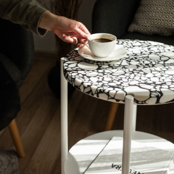 Кофейный столик Moon 40 столешница тераццо