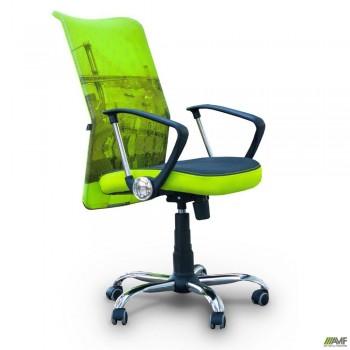 Кресло АЭРО HB сиденье Сетка серая, боковины Zeus 047 Light Green/ спинка Сетка лайм-Brooklyn Bridge
