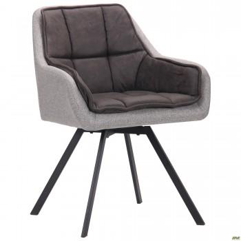 Кресло поворотное Virginia черный/cowboy базальт браун/меланж силвер