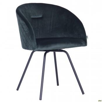 Кресло поворотное Sacramentoчерный/велюр темно-зеленый