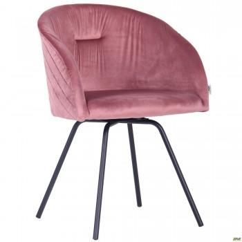 Кресло поворотное Sacramentoчерный/велюр розовый антик