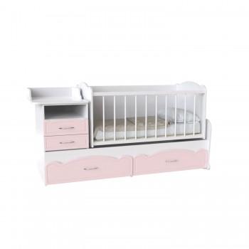 Кровать детская - Трансформер 3в1 Binky ДС043 Аляска / Розовый (решётка Белая)