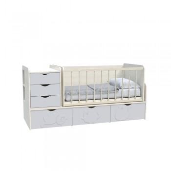 Кровать детская - Трансформер 3в1 Binky ДС504A Дуб шамони светлый / Пепельный софттач