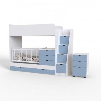 Кровать - чердак для двоих Binky ДС702 Аляска / Скай (белая решётка)